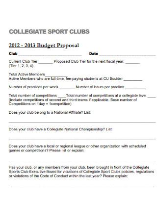 Sport Club Budget Proposal