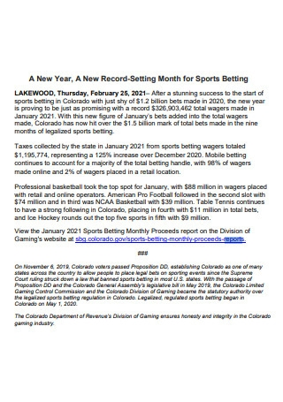 Sports Betting Monthly Report