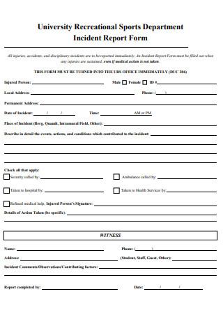 Sports Department Incident Report Form