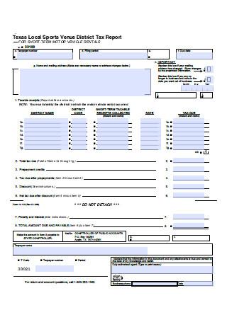 Sports District Tax Report