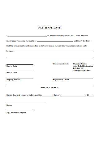 Standard Affidavit of Death