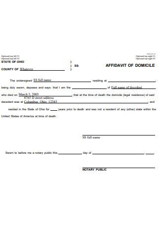 Standard Affidavit of Domicile