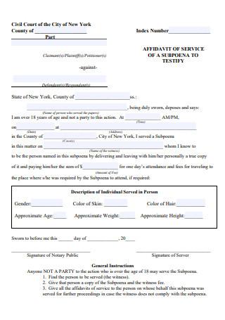 Standard Affidavit of Service