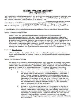 Standard Affiliate Agreement