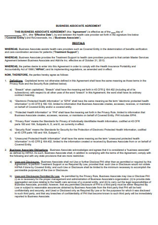 Standard Business Associate Agreement