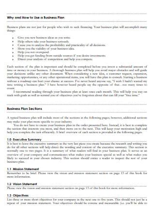 Standard Business Plan Workbook