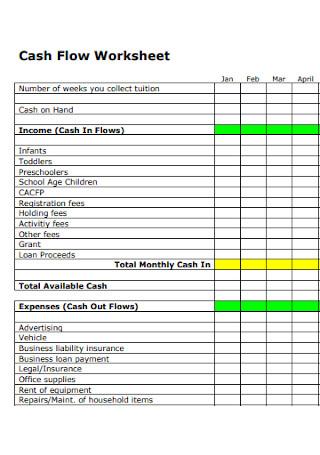 Standard Cash Flow Worksheet