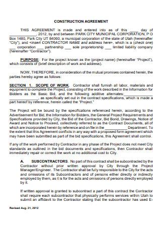 Standard Construction Agreement