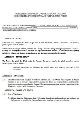 Standard Construction Contract Agreement