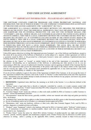 Standard End User License Agreement