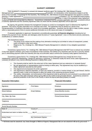 Standard Guaranty Agreement