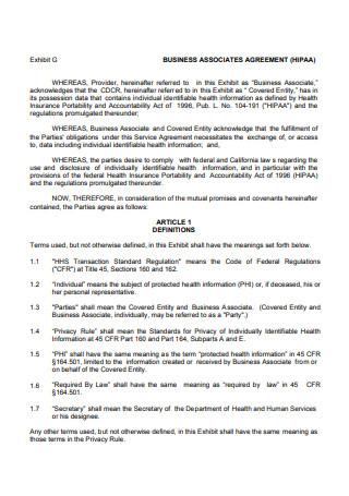 Standard HIPAA Business Associate Agreement