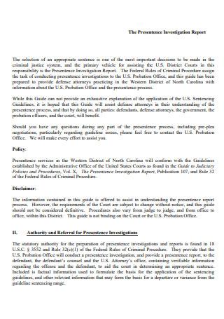 Standard Investigation Report
