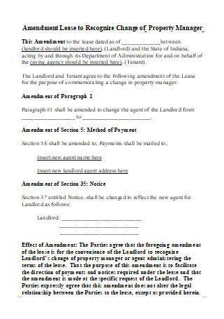 Standard Lease Amendment
