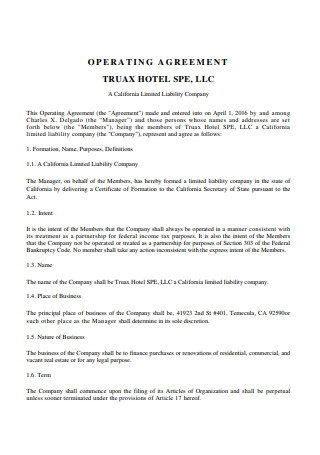 Standard Limited Liability Company Operating Agreement