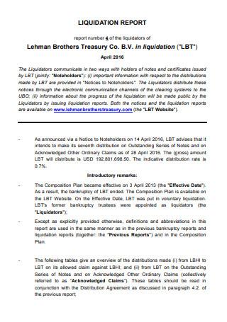 Standard Liquidation Report