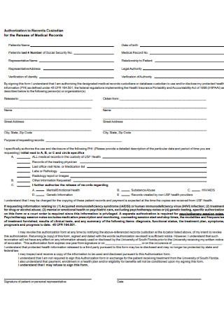 Standard Medical Record Releae Form