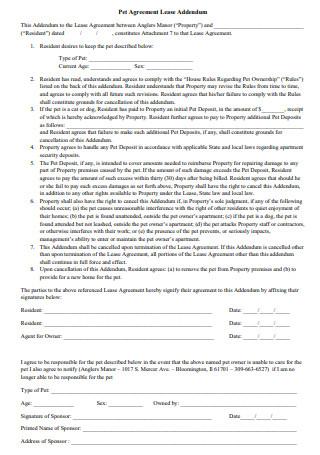 Standard Pet Addendum to a Lease Agreement