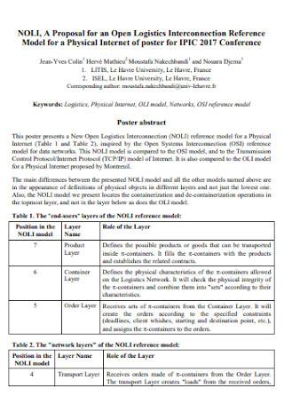 Standard Proposal for Logistics