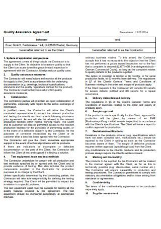 Standard Quality Assurance Agreement