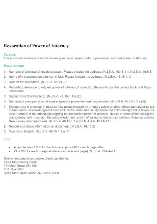 Standard Revocation of Power of Attorney