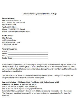 Standard Vacation Rental Agreement
