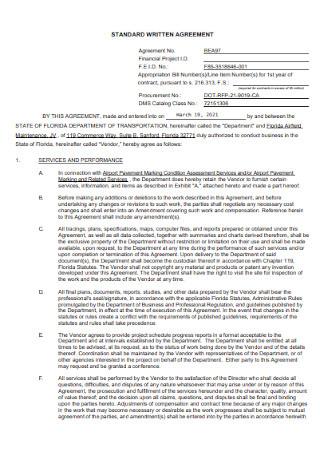 Standard Written Agreement