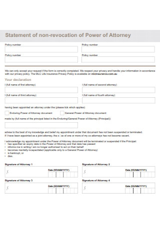 Statement of non revocation of Power of Attorney