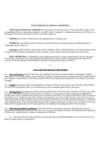 Stock Sale and Purchase Agreement Template