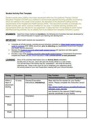 Student Activity Plan