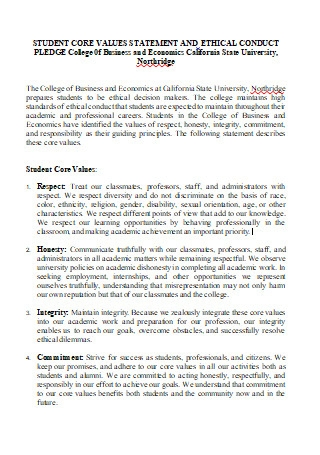 Student Core Values Ethical Statement