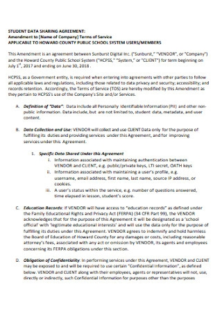 Student Data Sharing Agreement