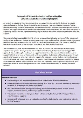 Student Graduation and Transition Plan