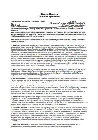 Student Housing Guaranty Agreement