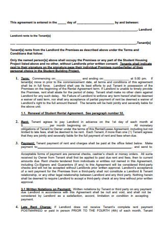 Student Housing Rental Agreement