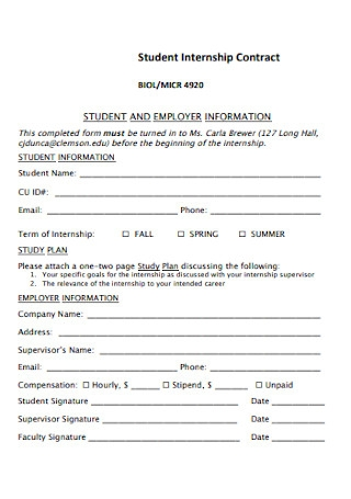 Student Internship Contract