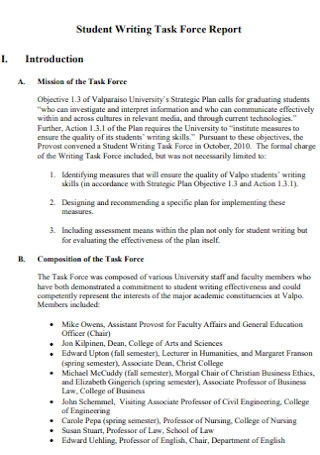 Student Task Force Report