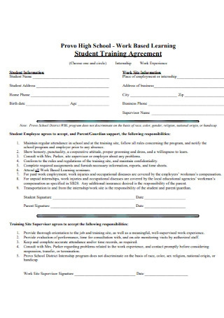 Student Training Agreement