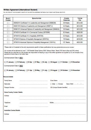 Student Written Agreement