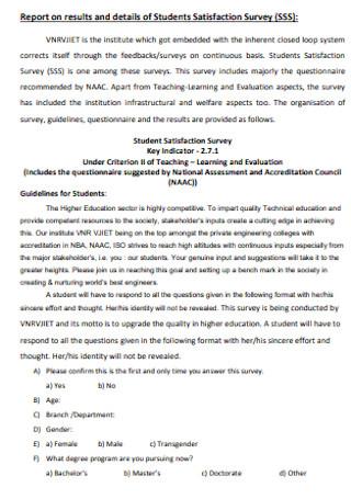 Students Satisfaction Survey Report