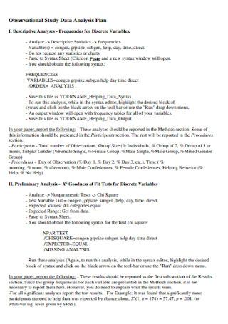 Study Data Analysis Plan