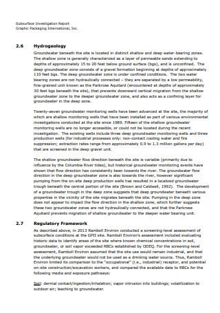 Sub Surface Investigation Report