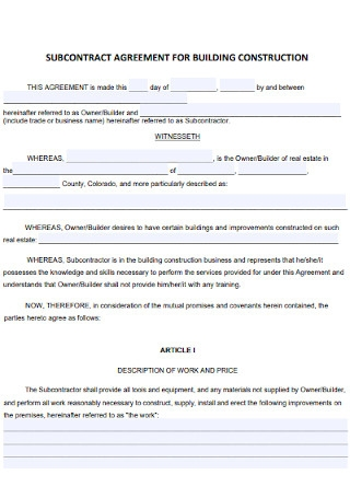 Subcontractor Agreement for Building Construction