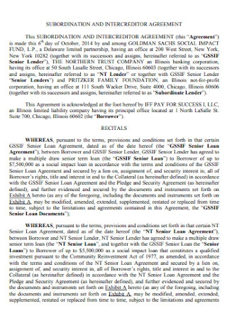 Subordination and Intercreditor Agreement