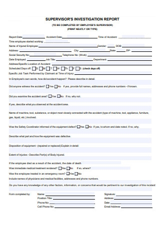 Supervisor Investigation Report Template