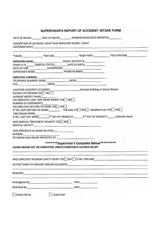 Supervisor Report of Accident Intake Form