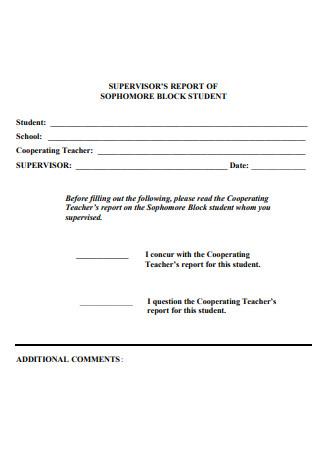 Supervisor Report of Block Student
