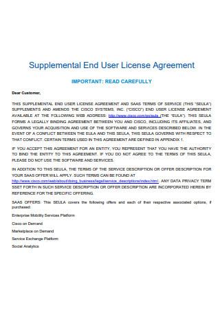 Supplemental End User License Agreement