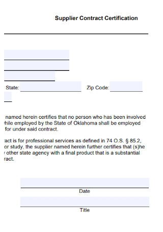 Supplier Contract Certification Template
