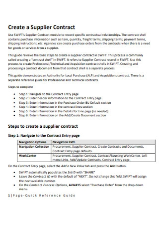 Supplier Contract Format